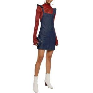 Joie Mikki Ruffle Denim Overall Sleeveless Dress S
